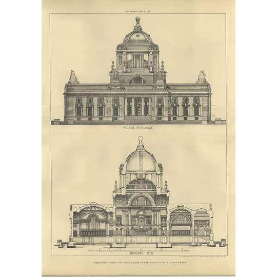 1906 Design For The Peace Palace In The Hague Ht Hare Front, Rear,
