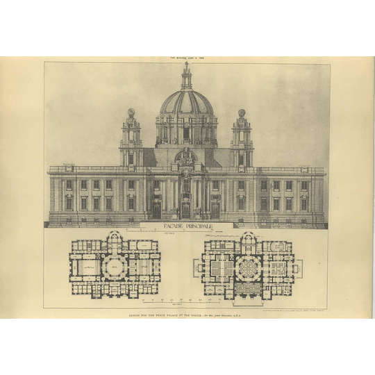 1906 Design For The Peace Palace At The Hague, John Belcher