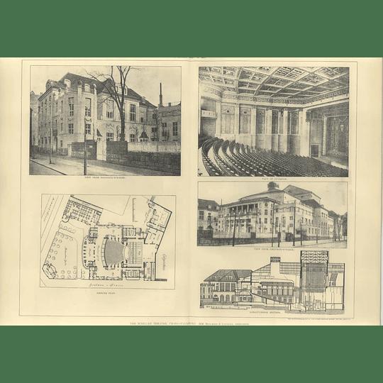 1907 The Schiller Theatre In Charlottenburg, Plan, Interior View, Section