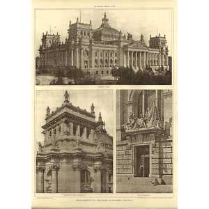 1907 General View And Details Of The Houses Of Parliament In Berlin, Wallot
