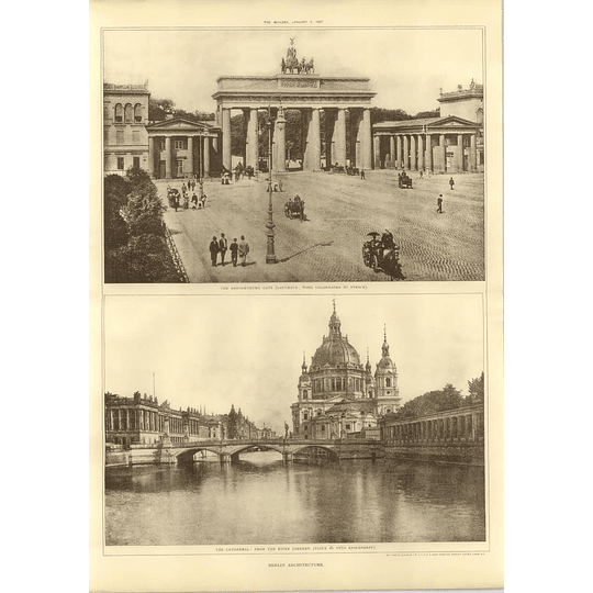 1907 Berlin Architecture, Brandenburg Gate, Cathedral From The River