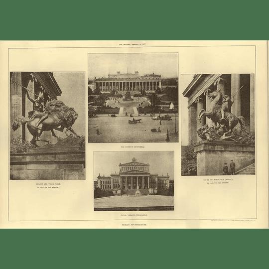 1907 Berlin Old Museum, Royal Theatre, Sculptures In Front Of Museum