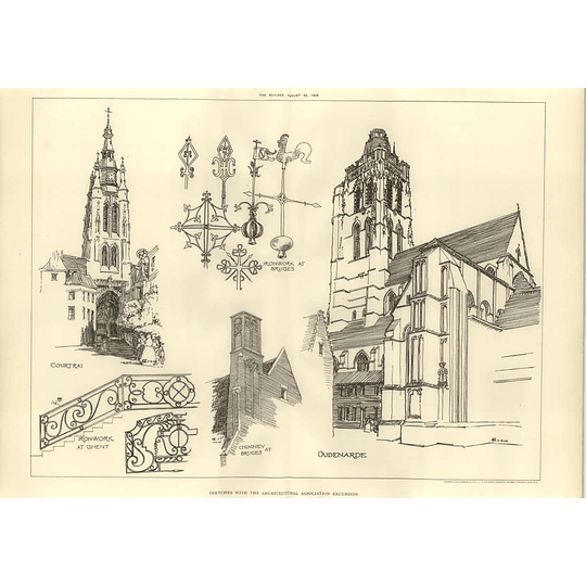 1908 Architectural Sketches At Courtrai, Ghent, Bruges,oudenarde