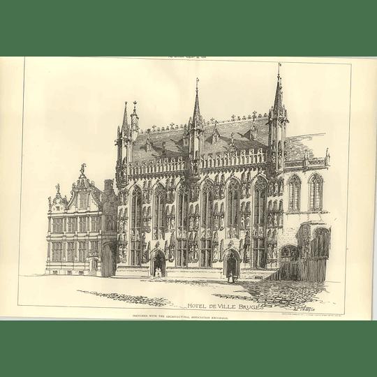 1908 Curtis Green Sketch Of The Hotel De Ville Bruges
