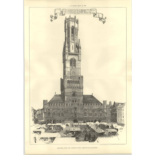 1908 Belfry Watching Over The Marketplace Of Bruges