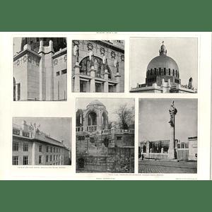 1908 Vienna Architecture, Stadt Park Terraces And Entrance, Prof Ohmann