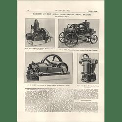 1926 Portable Oil Engines, Marshalls, National Gas Engine Ram Pump Illustrations