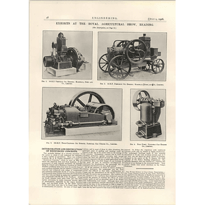 1926 Portable Oil Engines, Marshalls, National Gas Engine Ram Pump Illustrations