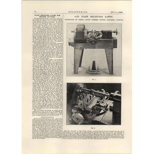 1926 Plain Relieving Lathe For Milling Cutters, Alfred Herbert Coventry