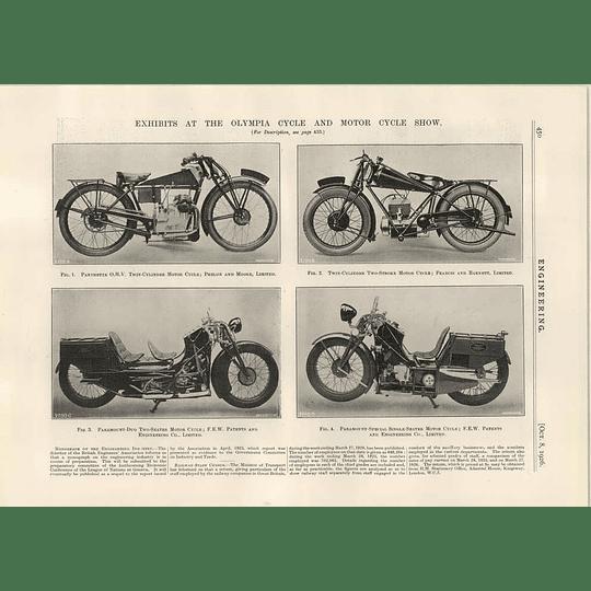 1926 Motorbikes Panthette,francis Barnett, Paramount
