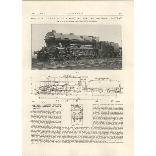 1926 Lord Nelson Southern Railway 4-6-0 Express Locomotive, Maunsell