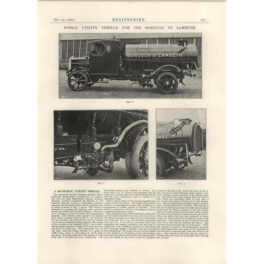 1926 Borough Of Lambeth Public Utility Vehicle, Daimler, Eagle