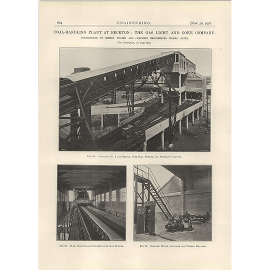 1926 Coal Handling Plant At Beckton, Bunker, Viaduct, Winch