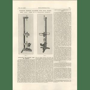 1926 Torsion Testing For Fine Wires, Schaffhausen, Switzerland
