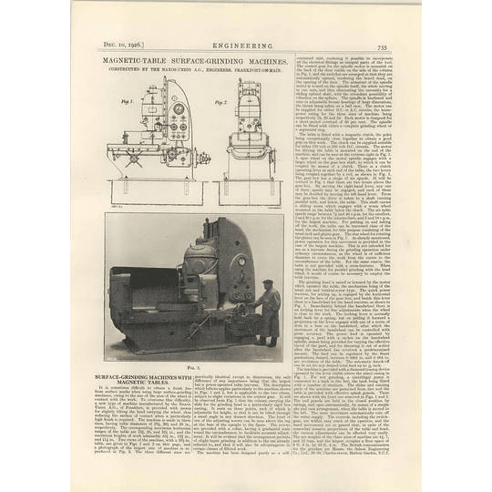 1926 Magnetc-table Surface Grinding Machines, Naxos Union Frankfort