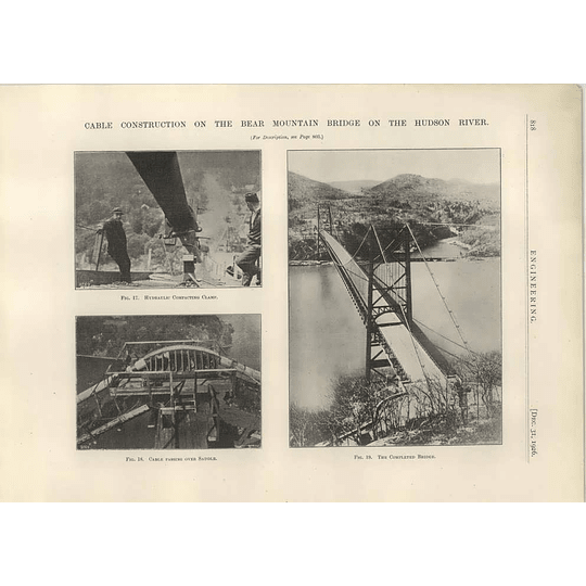 1926 Completed Bear Mountain Bridge, Hudson River, Clamp, Saddle