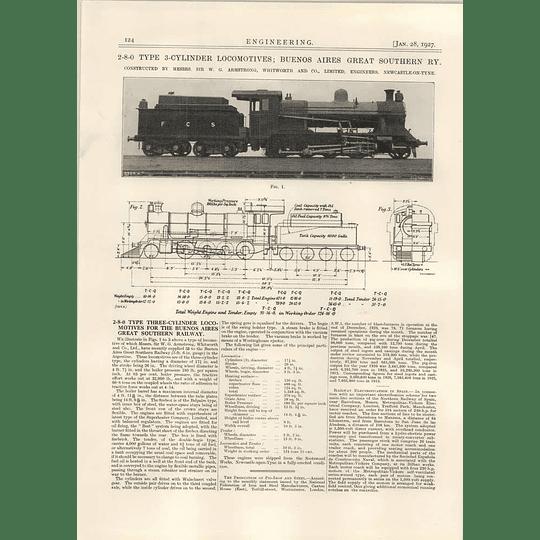 1927 Buenos Ayres Railway, 2-8-0 Locomotive, Armstrong Whitworth