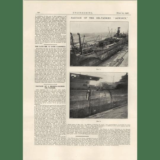 1927 Salvage Of Oil Tanker Agwisun, Brooklyn