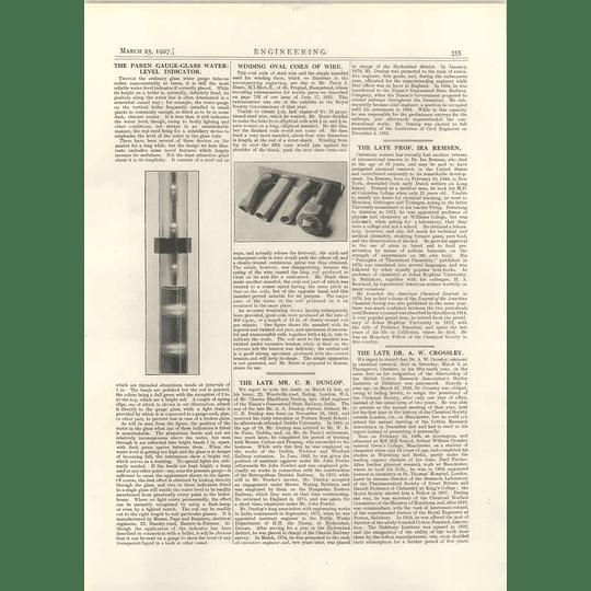 1927 Paben Gauge Glass Water Level, Cb Dunlop, Aw Crossley