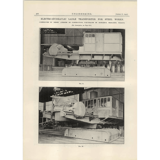 1927 Electro Hydraulic Ladle Transport Charleroi Steel Works Photo