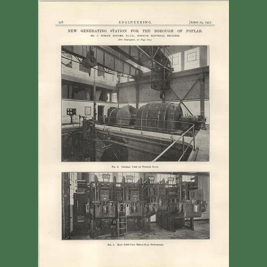 1927 New Generating Station For Poplar,turbine Room, Switchgear