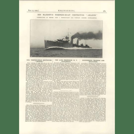 1927 Hm Torpedo Boat Destroyer Amazon, Thorneycroft