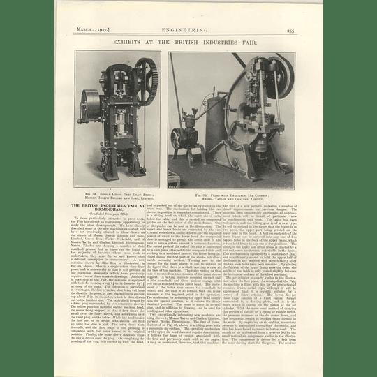 1927 Joseph Rhodes Deep Draw Press, Taylor Challen Die Cushion