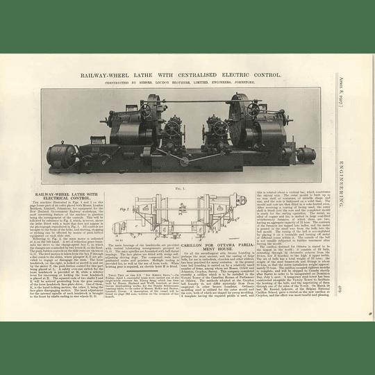 1927 Loudon, Johnstone, Wheel Lathe, Wt Foxlee, Er Calthrop