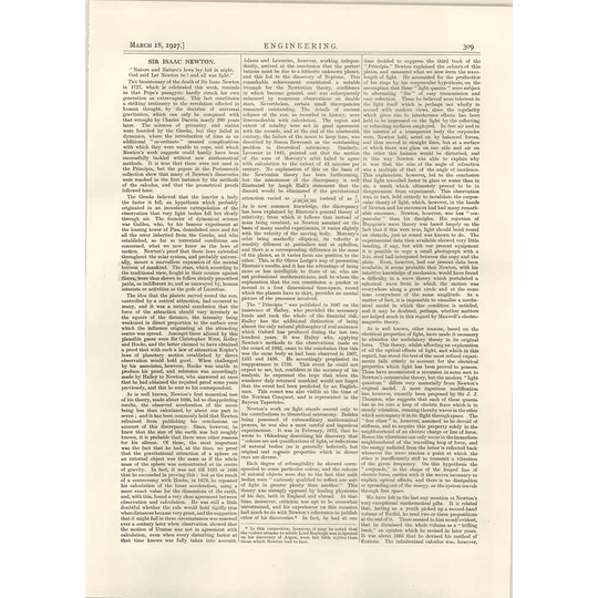 1927 Bicentenary Of Death Of Isaac Newton, Math, Engineering