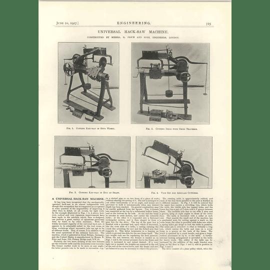 1927 Universal Hck Saw Machine, Price Engineers