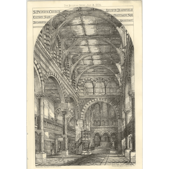 1874 St Peters Church Eaton Square Belgravia Interior, Arthur Blomfield Montague