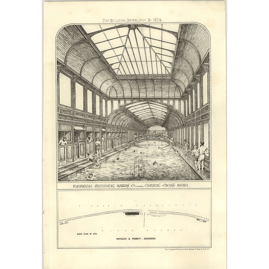 1874 Floating Swimming Baths Company, Charing Cross Bath Interior Design, Plan
