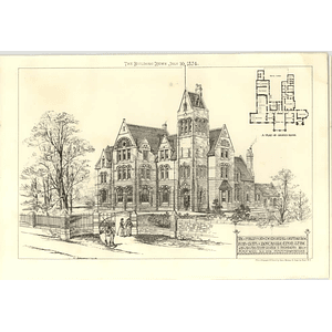 1874 The Philipson Memorial Orphanage For Boys, Newcastle Upon Tyne Design, Plan
