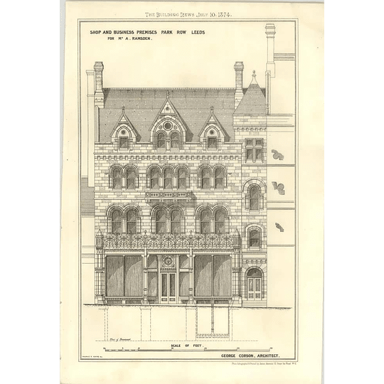 1874 Shop And Business Premises, Park Row, Leeds For Mr Ramsden, George Corson