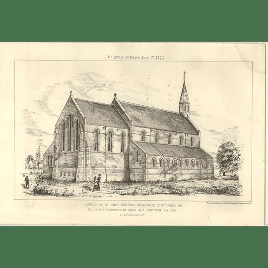 1874 Church Of St John Baptist, Spalding Lincolnshire Miss M.a. Johnson