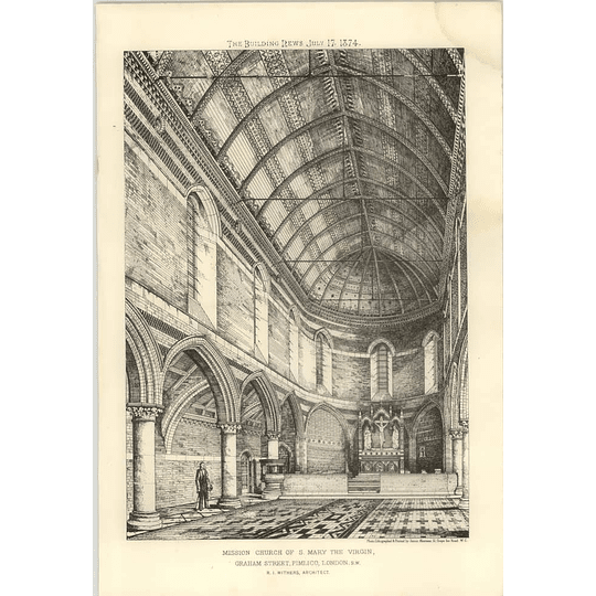 1874 Mission Church Of St Mary The Virgin, Graham Street Pimlico, Interior