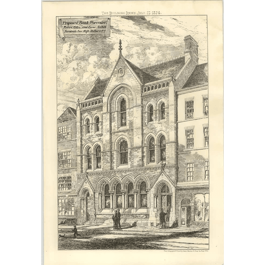 1874 Proposed Bank In Worcester Giles And Gane Architects