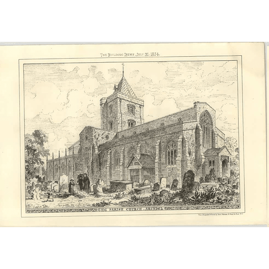 1874 The Parish Church, Arundel, Exterior From The Graveyard
