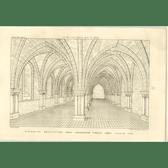 1874 Cistercian Architecture, Furness Abbey, Interior View