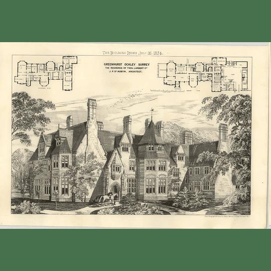 1874 Greenhurst, Ockley, Surrey, Residents Of Thomas Lambert, Design, Plan