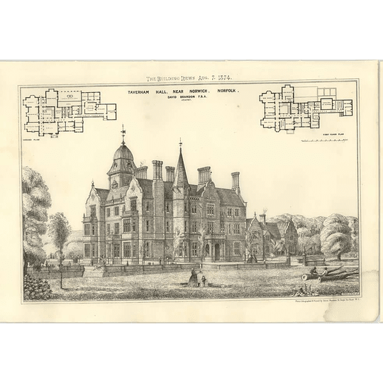 1874 Taverham Hall Near Norwich, David Brandon Architect, Design, Plans