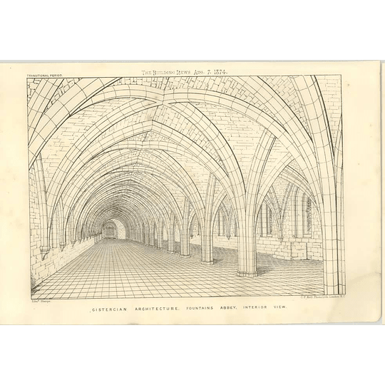 1874 Cistercian Architecture In Fountains Abbey, Interior View
