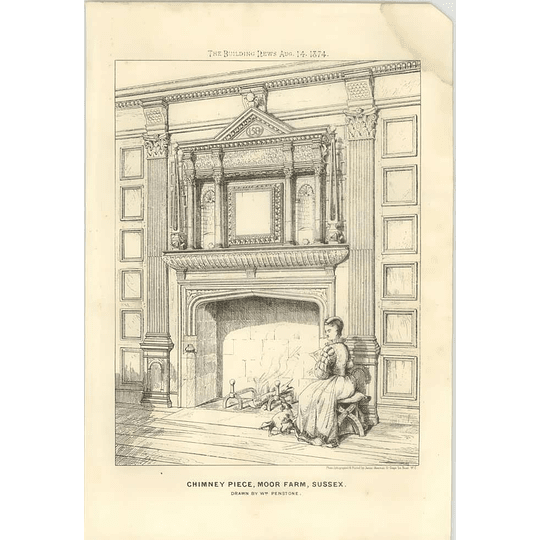 1874 Chimneypiece, Moor Farm, Sussex, Drawn By William Penstone
