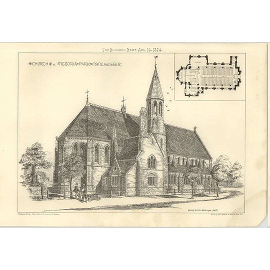 1874 Church In Victoria Park, Manchester, Design, Plan George ,Tunstal,Redmayne