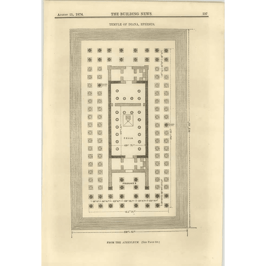 1874 Plan Of The Temple Of Diana, Ephesus, From The Athenaeum