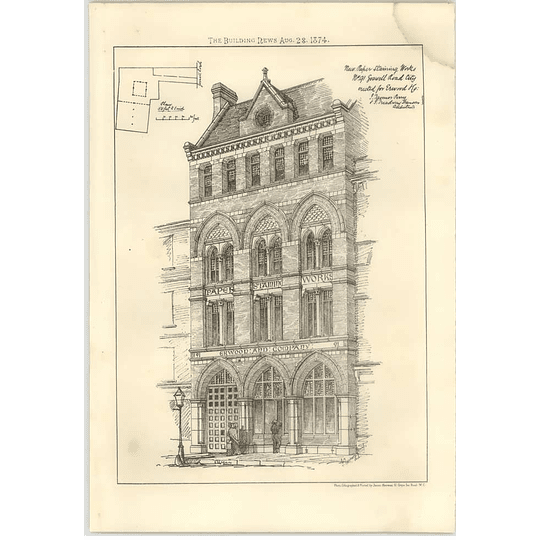1874 New Paper Staining Works 91 Goswell Road Erected For Erwood And Company