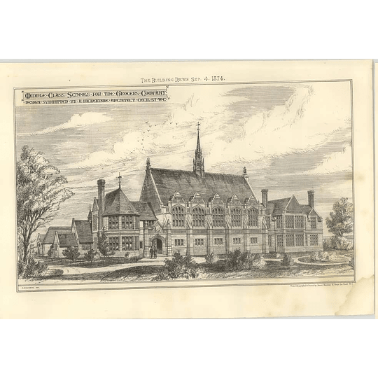 1874 Middle-class School For Grocers Company Design Submitted By A Bickerdike