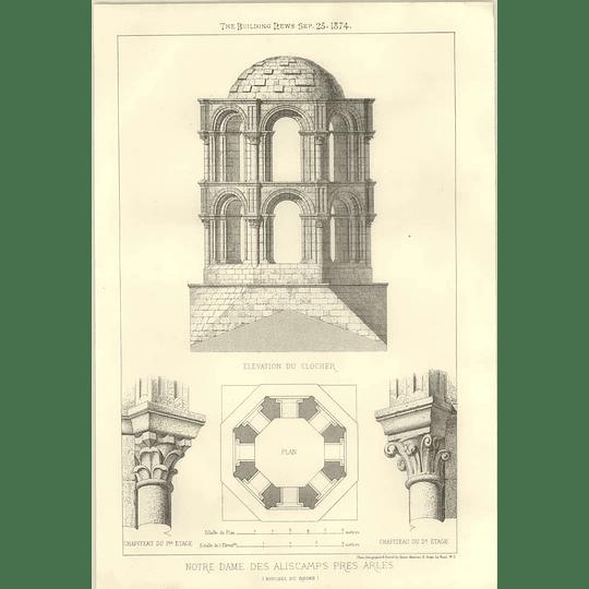 1874 Notre Dame Des Alicamps Pres Arles Plan Elevation
