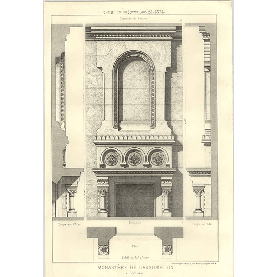 1874 Monastery Of The Assumption At Bordeaux, Plan, Elevation