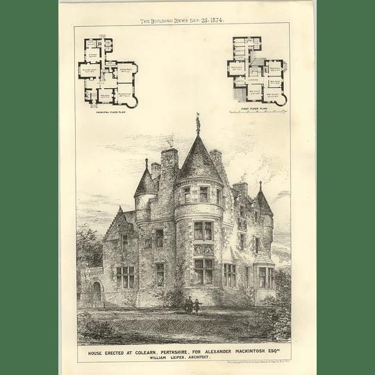 1874 House Erected At Coalarn In Perthshire,  Alexander Macintosh, Design, Plan